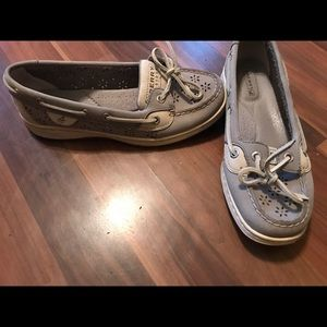 Grey leather Sperry